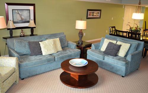 Roomy living area with balcony access - Pristine 2BR waterfront @ Yacht Club! 3-202 - North Myrtle Beach - rentals