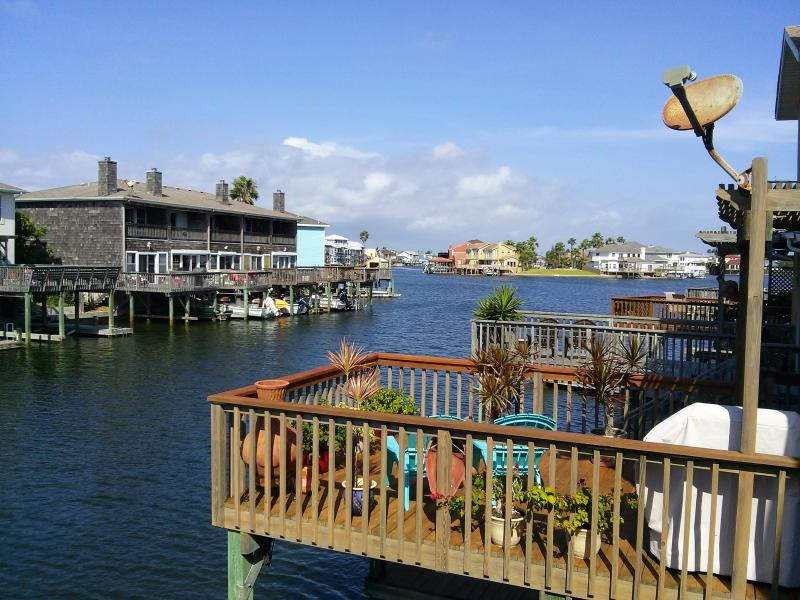 Looking off Deck toward West, the deck in photo, is for unit next door, and it is available also. - Stay on Gun Cay Waterfront Townhouse - Corpus Christi - rentals