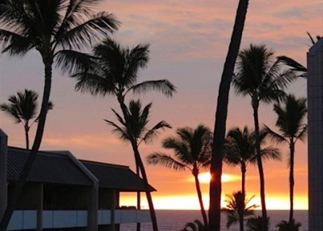 Beautiful Hawaiian Sunset from Lanai - Ocean Views from 2 Bed, 2 Bath across the street from White Sands Beach!-WSV 210 - Kailua-Kona - rentals