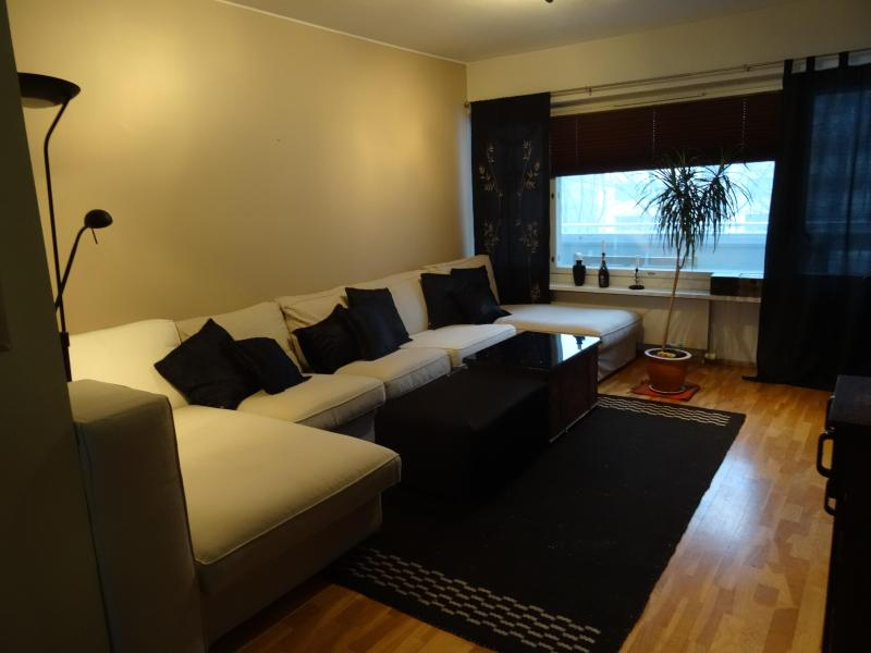 Livingroom with extra large sofa, ideal for spending time together or relaxing after a day in city. - Comfortable family apartment for 5 - Helsinki - rentals