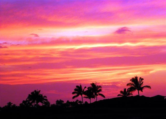 Beautiful sunset from the lanai! - Golf Villas at Mauna Lani J23 includes AC and Great Golf Course Views! - Kamuela - rentals