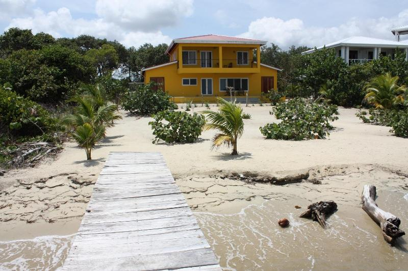 Viewed from your dock - The Mellow House - three bedroom beachfront home - Placencia - rentals