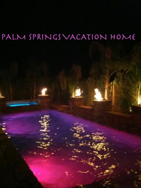 Heated salt water pebble pool/spa with waterfalls, fire pits and LED lights - Beautiful Fully Furnished Private Vacation Rental House - Cathedral City - rentals