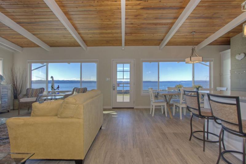 Picturesque 180 degrees view of the beach and water. - Beachfront Retreat - Right on the Beach!!! - Stanwood - rentals