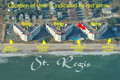 Aerial photo showing location of unit in St. Regis - St. Regis 3405 - North Topsail Beach - rentals