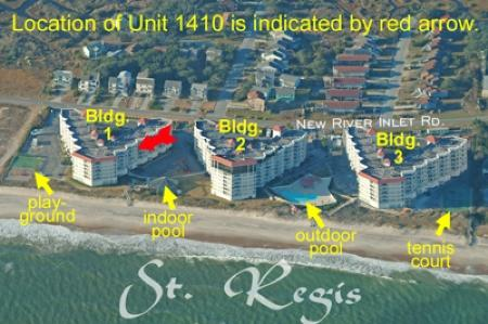 Aerial photo showing location of unit in St. Regis - St. Regis 1410 - North Topsail Beach - rentals