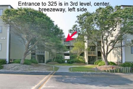 Streetside of Building 3 w/ location of Unit 325 - Topsail Reef 325 - BLD 3 - North Topsail Beach - rentals