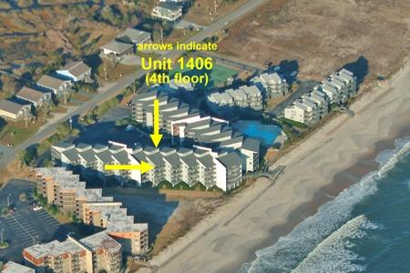 Aerial photo showing location of Unit 1406 - Shipwatch 1406 - North Topsail Beach - rentals