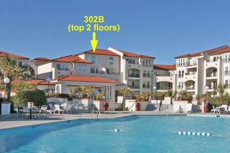 Ocean/courtyard side of unit 302B - Villa Capriani 302 B - North Topsail Beach - rentals