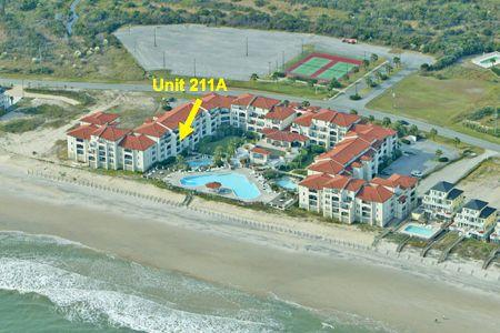 Aerial view of Villa Capriani w/ location of 211A - Villa Capriani 211 A - North Topsail Beach - rentals