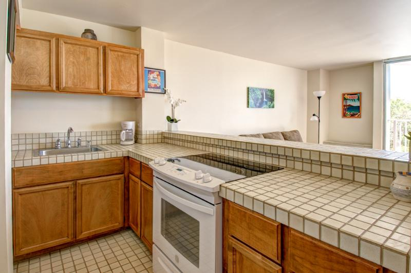 Full kitchen with a ceramic top stove - Apartment overlooking Wailoa Park - Hilo - rentals