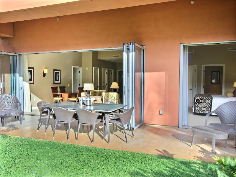 Open the doors wide and let the tropics in! Living room on the left, master suite on the right. - Konea 142 Honua Kai | GROUND FLOOR 2br / 2ba BIG private lawn! Quiet & Private! - Ka'anapali - rentals
