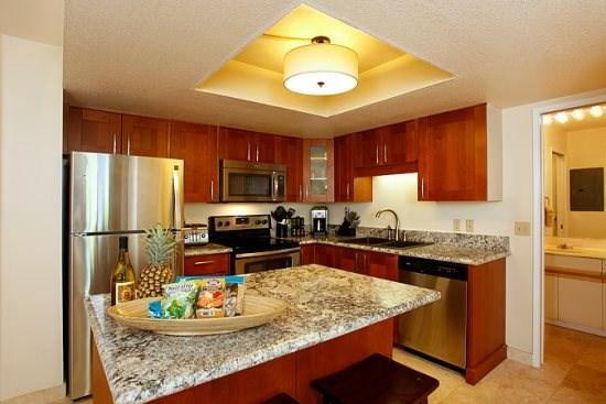 Full-equipped remodeled kitchen with granite counters and stainless steel appliances - $109/nt Specials! Maui Banyan-Stylish Remodel - Kihei - rentals