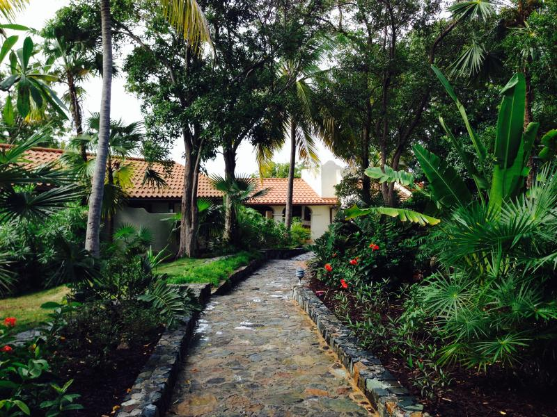 Entrance to Gestalt villa on the Steele Point Estate - Ocean Front Mediterranean Villa with Private Dock - West End - rentals