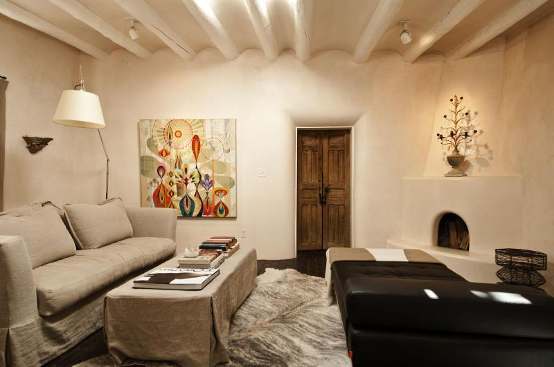 Natural tones accented by splashed of color in contemporary art. - A CANYON RD. SECRET GARDEN MEETS PERFECT LUXURY - Santa Fe - rentals