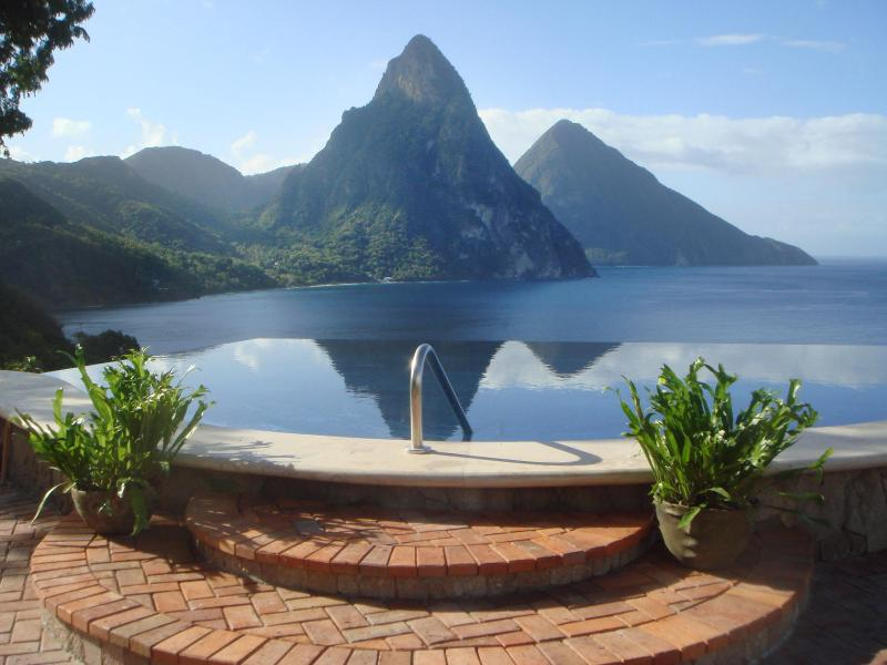 Infinity Pool with View of the Pitons and Caribbean Sea - Caille Blanc Villas - Ultimate Luxury in St. Lucia - Soufriere - rentals