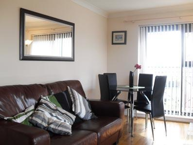The apartment has a leather suite- sofa seats 3 + 2 chairs - Clarendon Quay Apartment, Belfast City Centre - Belfast - rentals
