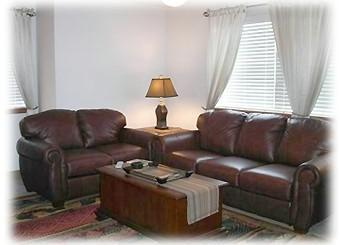 Family Room with Leather Sofa Sleeper - Luxury Frisco Main St 1BR1BA FP W/D Carport - Frisco - rentals