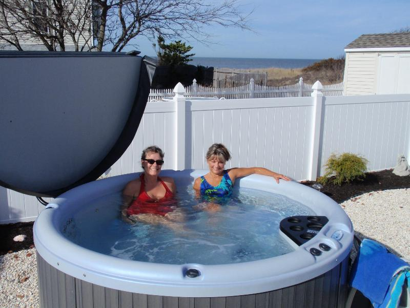 6 person lighted hot tub showing partial bay view from deck - Hot tub-pool-fenced yd-dog friendly-waterview-wifi - Cape May - rentals