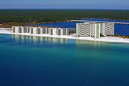 View of Pinnacle Port Resort from helicopter over the Gulf of Mexico - Luxury Condo-Stunning Gulf Views Sugar White Sand - Panama City Beach - rentals