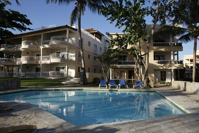 building view from the beach - Cabarete Kite Beach Oceanfront PH for 7 from $220! - Cabarete - rentals