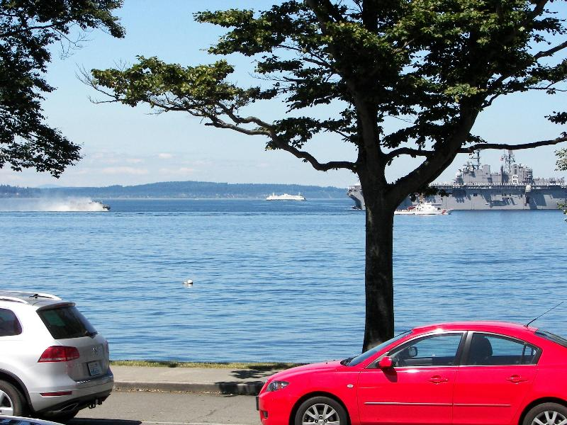 Just a step to the beach, view from inside the unit - Alki Beach- Majestic views sound, mnts & shipping - Seattle - rentals