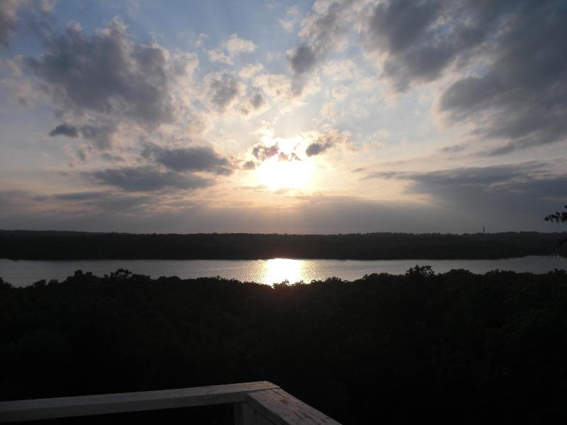 Sunset view from deck - Home w/ spectacular sunset views of Arbuckle Lake - Sulphur - rentals