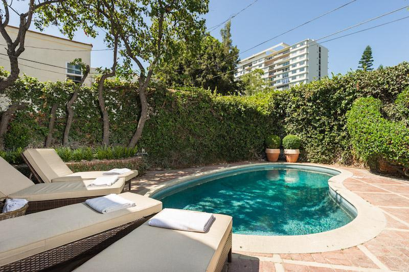 private pool, sunset strip in the distance - designer 5 bedroom villa, pool, guest house - West Hollywood - rentals