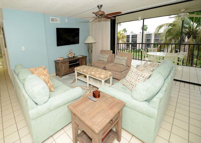 Living Room - Gulf view, Three Bedroom, Sundial Beach Resort Condo - Sanibel Island - rentals