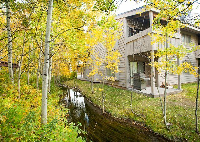 Stream next to unit - Winter seasonal rental available in this Foxtail  condo in the Aspens! - Wilson - rentals
