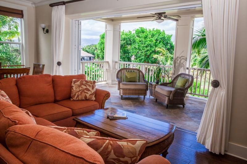 Glass wall opens for indoor-outdoor living - FALL SALE !! - LUXURY Villa Poipu Beach, A/C Pool - Poipu - rentals