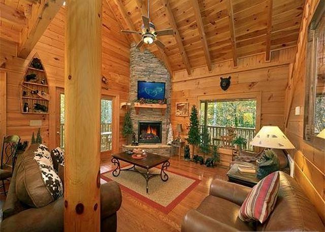 Queen sized sleeper sofa/Stone stacked gas fireplace/Large HDTV/DVD - CEDAR FOREST-Private-Home Theater-3 Stories-2/2 - Sevierville - rentals