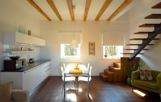 Spacious, bright living room with big glass door to the terrace that lets a lot of natural light in - 1-Bedroom Gradaška - Fine Ljubljana Apartments - Ljubljana - rentals