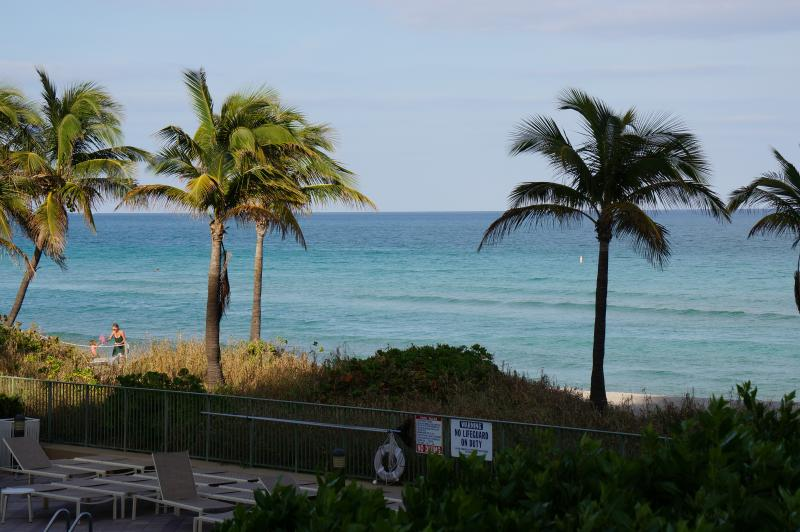 VIEW FROM THE BALCONY - Luxury 3/2 Br ON 1TH FL Ocean Front Condo - Hallandale - rentals