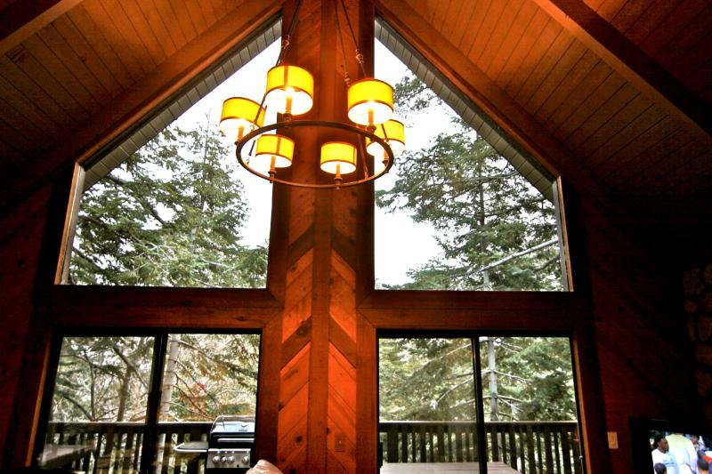 Timberline Lodge with wall of glass and view of the forest - Timberline Lodge - Classic A Frame - Lake Arrowhead - rentals