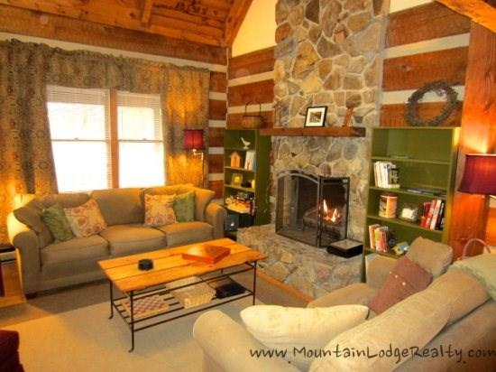 Trailhead Cabin Living Room from Kitchen and Dining Area - Trailhead Cabin - Boone - rentals