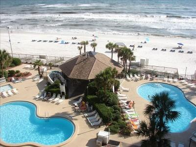 View of pools and gazebo from 6th floor condo - Spacious Condo, Lg Balcony w/Gorgeous sunset view - Panama City Beach - rentals