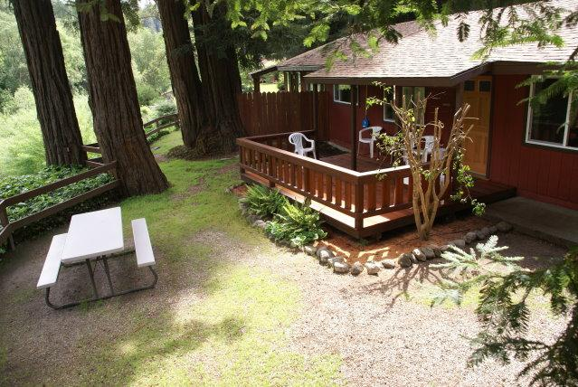 The back deck overlooking the river - 2 bedroom cabin in the redwoods with fireplace - Felton - rentals