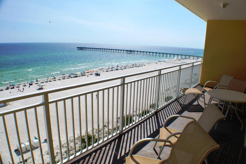 This beach is never crowded! Enjoy the east view from our balcony to compliment your morning coffee! - SPRING-BREAK: Oceanfront 2BR/2BA/8ppl  Condo - Low Floor - Panama City Beach - rentals