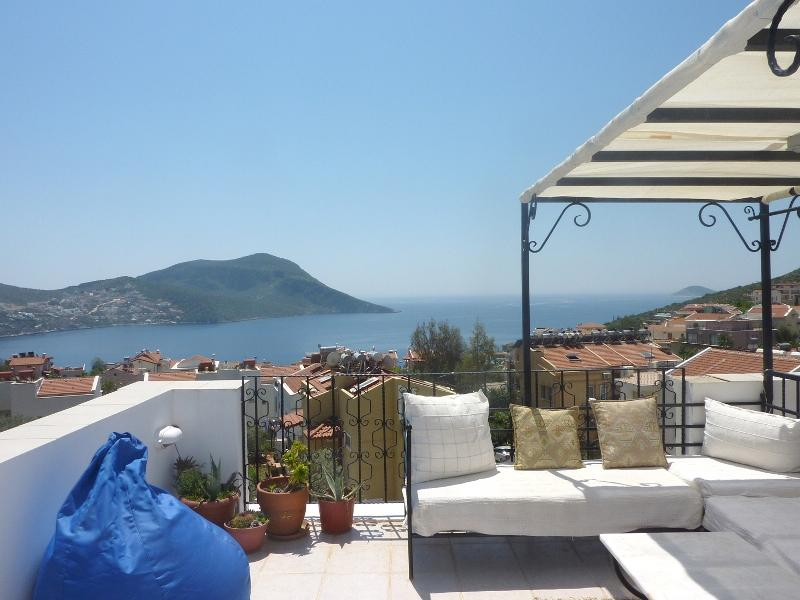 Amazing view of Kalkan Bay from the roof terrace - Amazing 2/3 bedroom apartment for rent in Kalkan - Kalkan - rentals