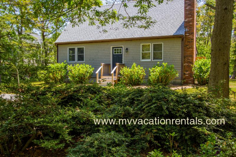 Entry Side of House - LECAY - Boutique Sweet with Designer Interior,  Large Screened Porch, AC all Bedrooms, 15 Minute Walk to Oak Bluffs Center and Inkwell Beach - Oak Bluffs - rentals