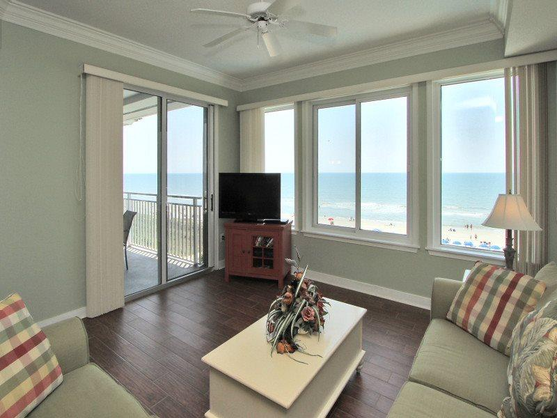 Living Room with Direct Ocean Views at 3502 Sea Crest - 3502 Sea Crest - Hilton Head - rentals