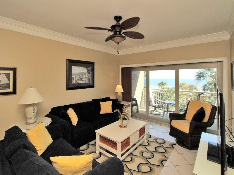 Living Room with Ocean Front Views at 445 Captains Walk - 445 Captains Walk - Palmetto Dunes - rentals