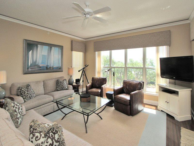 Living Room with Deck Access at 6401 Hampton Place - 6401 Hampton Place - Palmetto Dunes - rentals