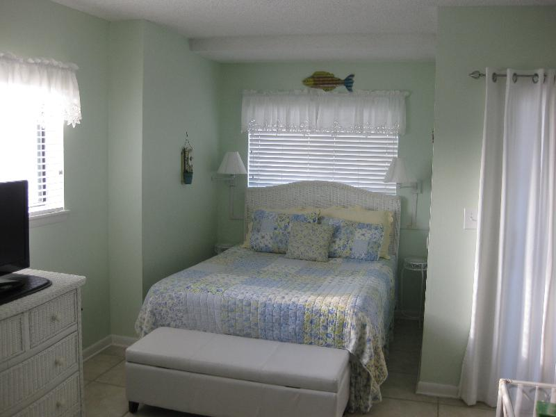Alcove with Queen Bed - See Gulf from 2 windows shown & Balcony Door with drapes open - Surfsup - Gulf Shores - rentals