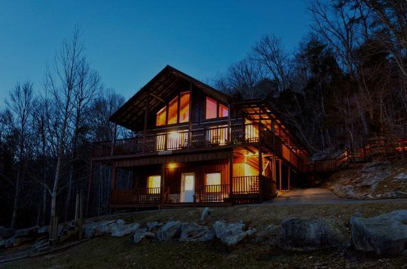 Exterior at dusk - Deer Lodge - Townsend - rentals