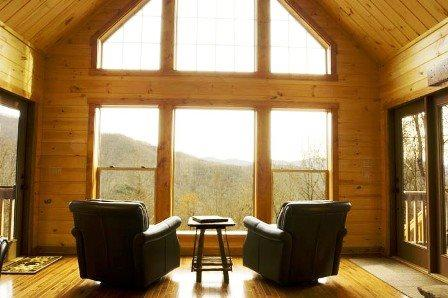 Enjoy the Billion Dollar View thru the Clerestory Windows - Millstone Lodge - Upscale Log Cabin with Captivating View, Hot Tub, Screened Porch, Fire Pit, Internet and More - Bryson City - rentals