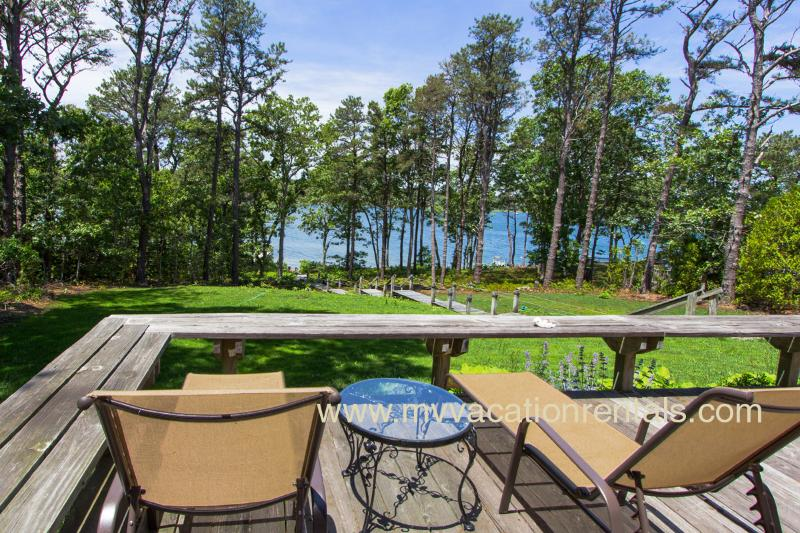 Waterfront Side of House from Deck - BRANP - Waterfront Home with Private Dock on Lagoon, Accessible to Vineyard Sound,  Media Room, Central AC,  Wi-Fi, Fully Renovated - Oak Bluffs - rentals