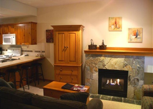 Living area overview - Symphony 47 - studio suite, hot tub access & free wifi on free shuttle route - Whistler - rentals