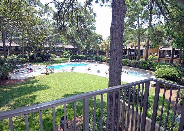 view of pool from balcony - 2 Bedroom 3 Bathroom Oceanview Townhome at Beach Villas - Hilton Head - rentals